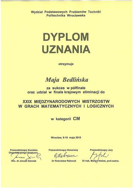 dyplom-uznania-Maja-Bedlińska